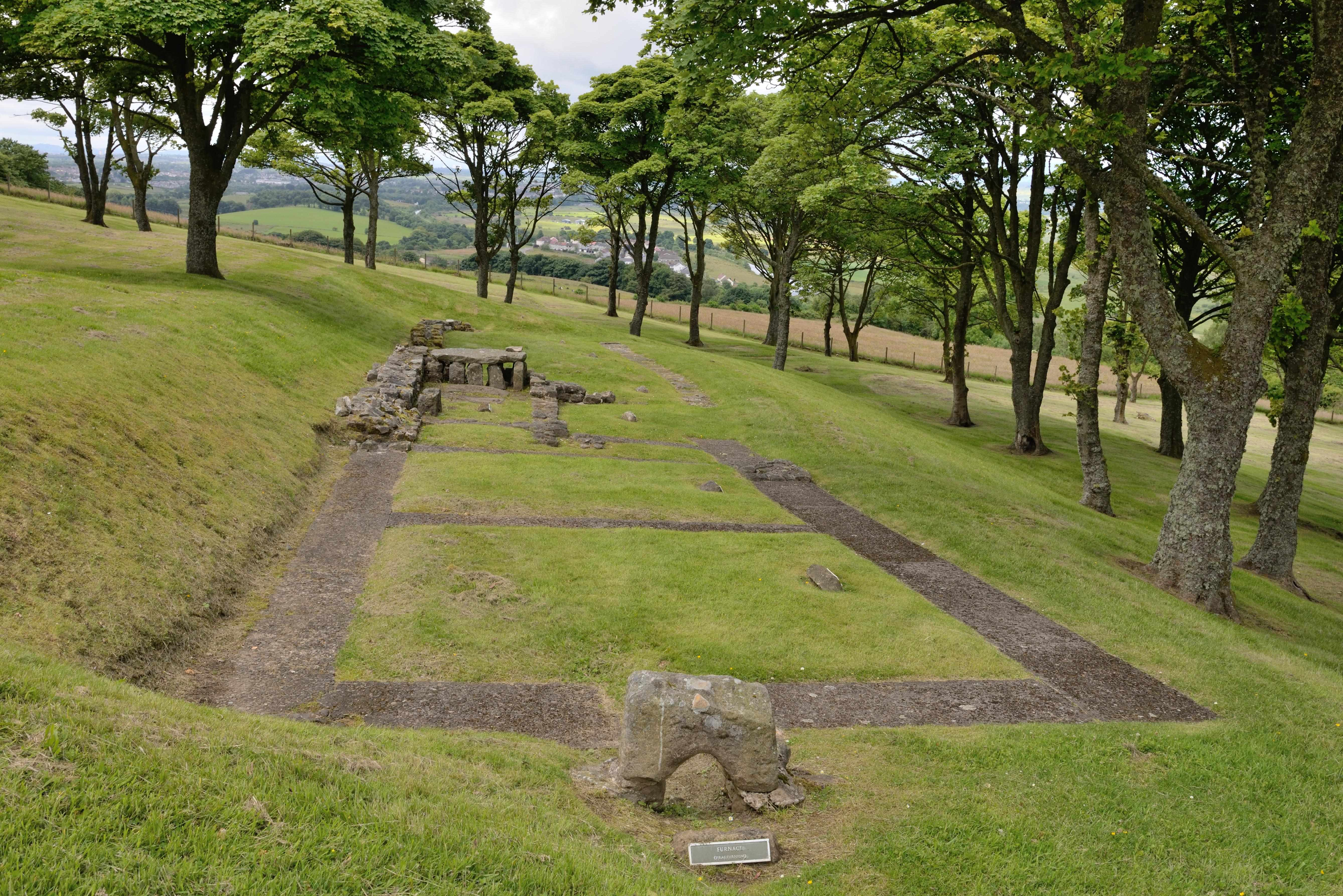 Foundations of a bath house at the Roman fort on Bar Hill in central Scotland. (Photo by Alamy)