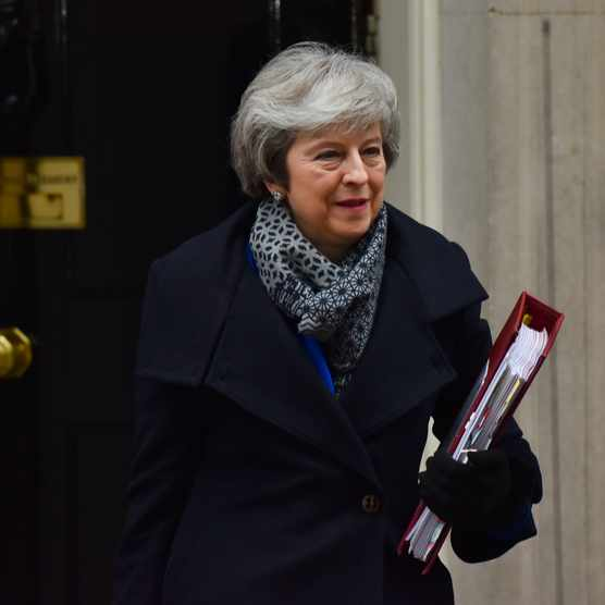 British prime minister Theresa May leaves 10 Downing Street to attend PMQs, after she suffered a major defeat in parliament over her Brexit deal, 16 January 2019. (Photo by Alberto Pezzali/NurPhoto via Getty Images)