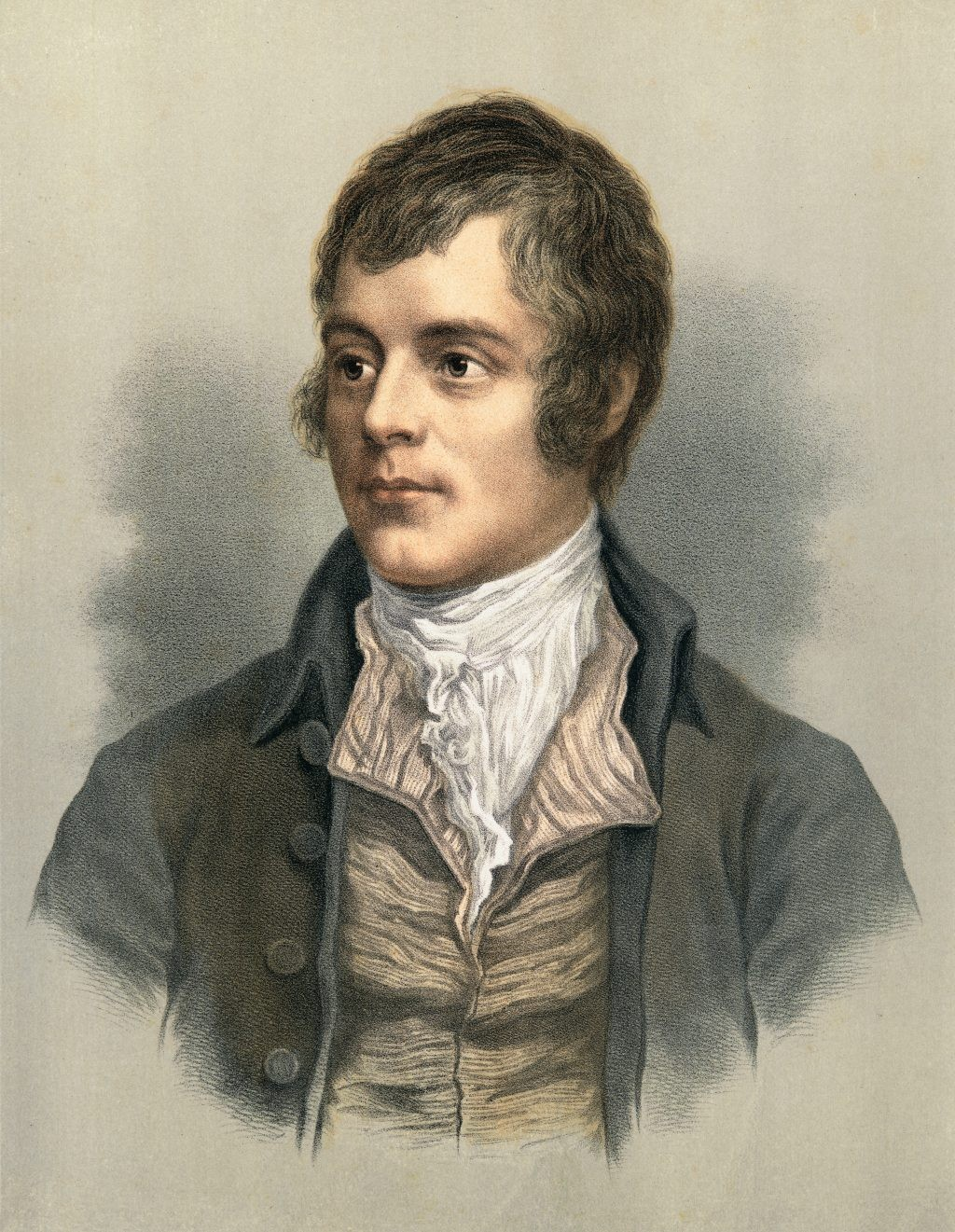 Lithograph portrait of Scottish poet Robert Burns. (Photo by Stock Montage/Getty Images)