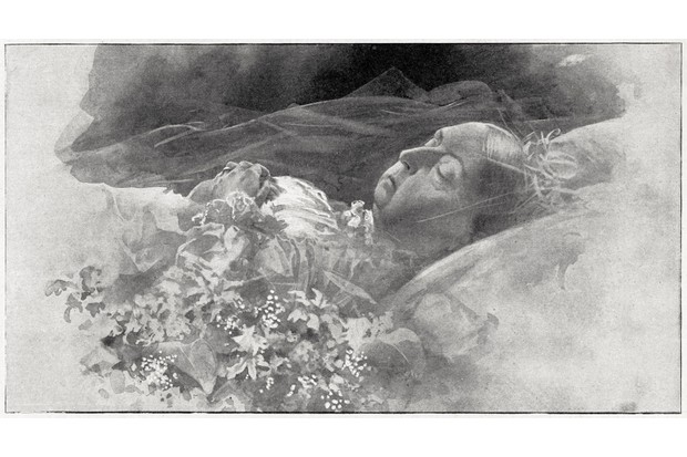 A February 1901 drawing from <em>L'Illustration</em>, showing Queen Victoria on her death bed. (Photo by Culture Club/Getty Images)