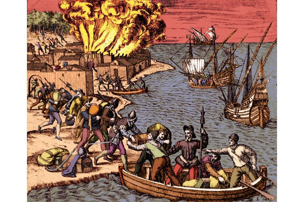 Illustration showing 16th-century french pirates – or 'filibusters'– attacking an American town via the sea. (Photo by Culture Club/Getty Images)