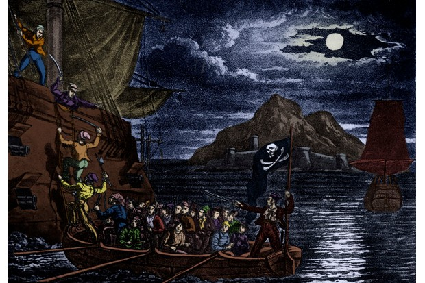 Engraving from 'The History and Lives of the most Notorious Pirates', showing pirates boarding a vessel in the West Indies. (Photo by Culture Club/Getty Images)