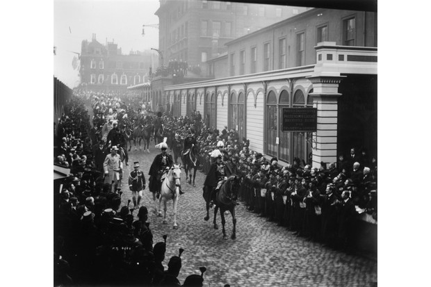 Queen Victoria's son, King Edward VII, rides in Queen Victoria's funeral procession, February 1901. (Photo by Reinhold Thiele/Thiele/Getty Images)