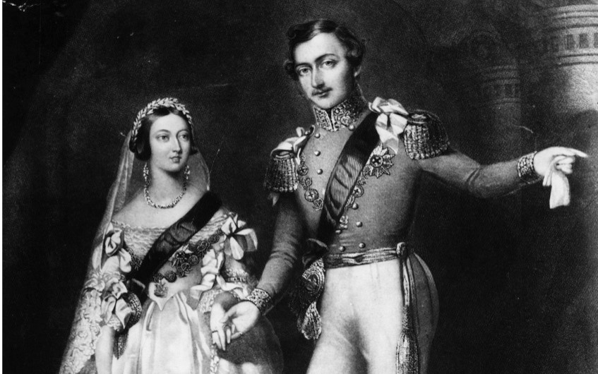"Queen Victoria refused to wear her crimson velvet robes of state for her wedding to Albert. Instead, she opted for a dress of pure white and ""simple magnificence"". (Photo by Rischgitz/Getty Images)"