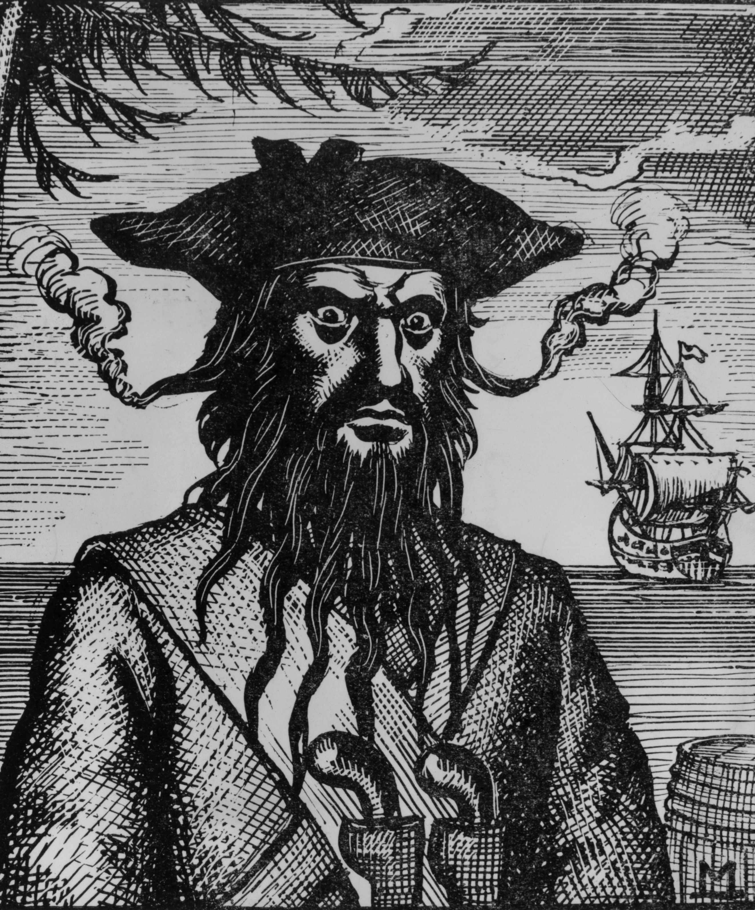 Captain Edward Teach, better known as 'Blackbeard', a pirate who plundered the coasts of the West Indies, North Carolina and Virginia. (Photo by Hulton Archive/Getty Images)