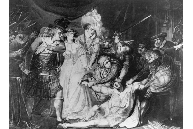 Circa 1566, The murder of Mary Queen of Scots Italian private secretary David Rizzio (c. 1533 - 1566) who was stabbed 57 times on 9th March 1566 in the Queen's antechamber at the Palace of Holyroodhouse in Edinburgh. Among those implicated in the plot were the Queen' (Photo by Hulton Archive/Getty Images)