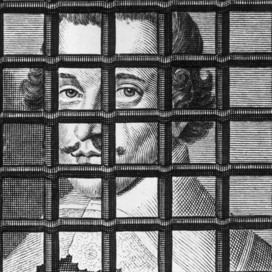 A 1646 engraving of John Lilburne behind bars. The outspoken critic of successive governments spent half his life imprisoned or in exile. (Photo by Rischgitz/Getty Images)