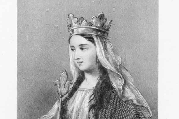 Engraved portrait of Empress Matilda of Flanders, wearing a crown and holding a scepter, c1100. (Photo by Kean Collection/Archive Photos/Getty Images)