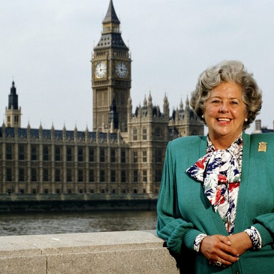 """In 1992, Betty Boothroyd was voted in as Speaker of the House of Commons, with cross-party support by 372 votes to 238, asking the House """"to elect me for what I am, not for what I was born"""". (Photo by Tom Stoddart/Getty Images)"""