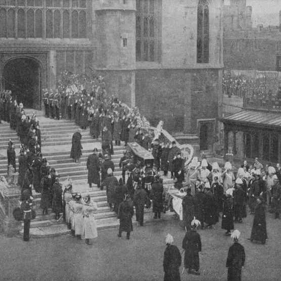 The funeral of Queen Victoria, 1901 (1909). The coffin being carried into St George's Chapel, Windsor. From Harmsworth History of the World, Volume 7, by Arthur Mee, J.A. Hammerton, & A.D. Innes, M.A. (Carmelite House, London, 1909)(Photo by The Print Collector/Getty Images)
