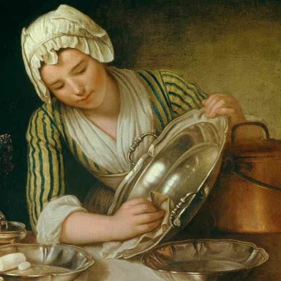 A maid polishes a silver dish. Female domestic servants were highly vulnerable to sexual exploitation, but in Reformation France they found some ways to fight back. (Photo by: Christophel Fine Art/UIG via Getty Images)