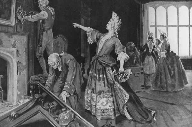 Sarah Churchill, Duchess of Marlborough, supervises the removal of fittings from a room at Kensington Palace, which she had occupied as lady in waiting to Queen Anne of England. The wife of John Churchill, 1st Duke of Marlborough, and a trusted confidante to Queen Anne, she was politically highly influential until her dismissal in 1711. (Photo by Hulton Archive/Getty Images)