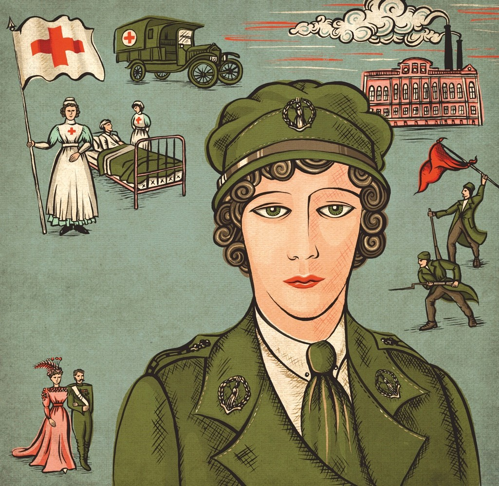 Lady Sybil Grey, an indomitable Englishwoman who, as a nurse in Russia, led a field hospital and had a grandstand view of the February 1917 revolution that toppled the tsar. (Illustration by Sue Gent for BBC History Magazine)