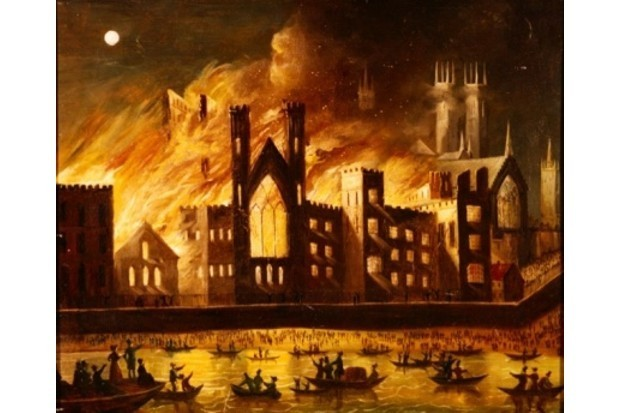 The Palace of Westminster on Fire, 1834 (© Palace of Westminster Collection, WOA 1978 www.parliament.uk/art)