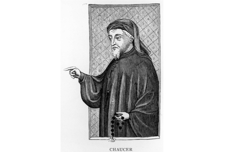 "A portrait of the English poet Geoffrey Chaucer (c1340-1400), who modern literary scholars credit for turning Valentine into the patron of love. Chaucer was a major influencer in his day – after him, everyone began calling their beloved ""Valentine"" and writing love poems on 14 February, says Lisa Bitel. (Photo by Hulton Archive/Getty Images)"