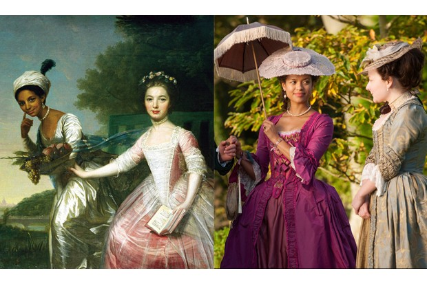 An 18th-century portrait commissioned by the Earl of Mansfield's family portrays Dido Elizabeth Belle and her cousin Elizabeth. The gentlewoman was played by Gugu Mbatha-Raw in the 2013 film 'Belle'. (Images by Alamy)
