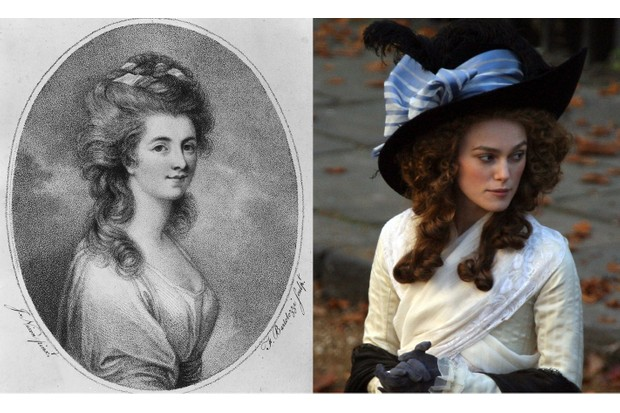 The 2008 film The Duchess considers life of Georgiana, Duchess of Devonshire, who is played by Keira Knightley. (Images by Rischgitz/Getty Images | Matt Cardy/Getty Images)
