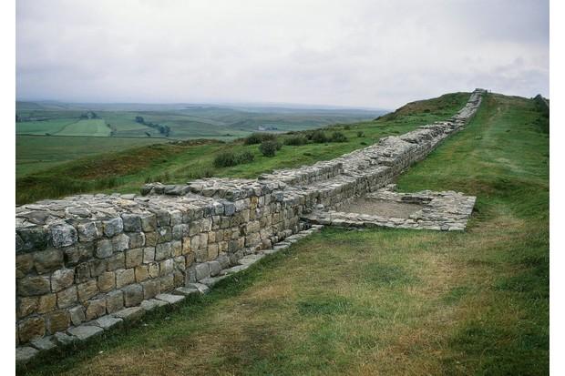 Hadrian's Wall, built by Roman emperor Hadrian in northern England. (Photo By DEA / G. NIMATALLAH/De Agostini/Getty Images)
