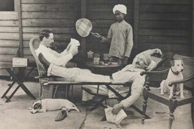 "British soldiers while away the hours in a photograph captioned ""The long, long Burmese day"", c1892. Many imperial troops went decades without firing a shot in anger. (Photo by National Media Museum/Royal Photographic Society/SSPL/Getty Images)"