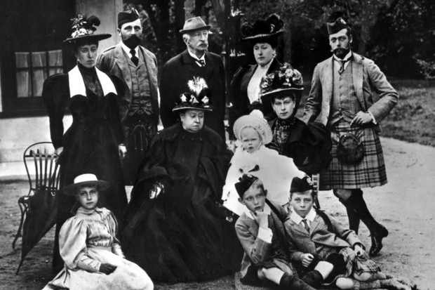 9de57ecb194bc c1895: Queen Victoria with her family. Standing left to right: Princess  Helena Victoria