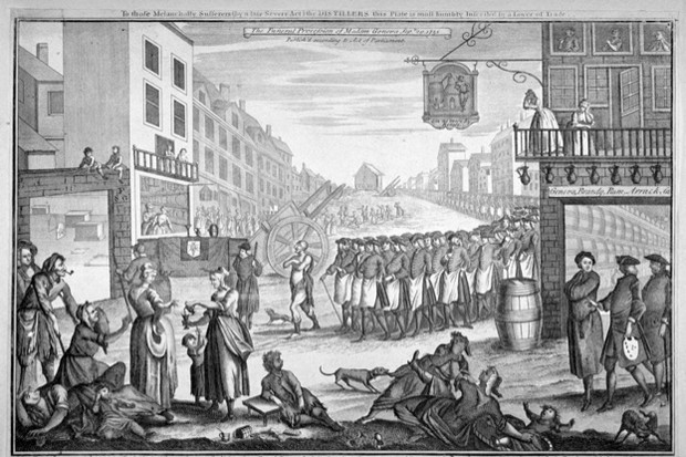 A satirical cartoon relating to the Gin Act, depicting a mock funeral procession for 'Madam Geneva' in St Giles, London, 1751. (Photo by Guildhall Library & Art Gallery/Heritage Images/Getty Images)