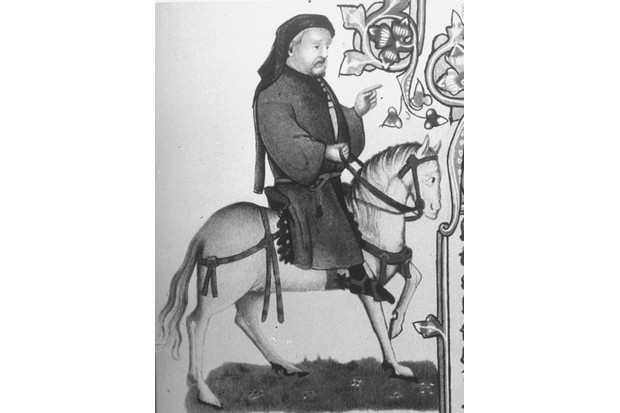 Geoffrey Chaucer (c1340-1400) depicted as a pilgrim on horseback in a detail from an early illuminated manuscript edition of 'The Canterbury Tales'. (Photo by Time Life Pictures/Mansell/The LIFE Picture Collection/Getty Images)