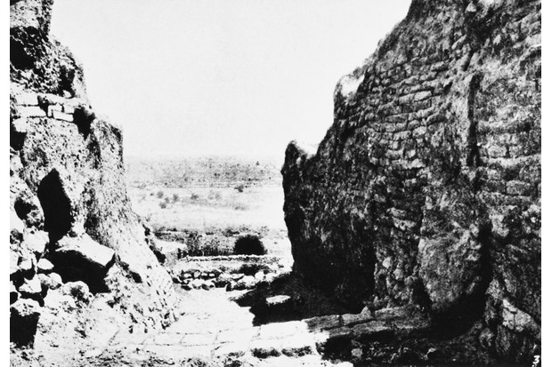Walls in the ancient city of Jericho, during the early 20th-century excavations of Tell es-Sultan and Tulul Abu el-'Alayiq. (Photo by Illustrated London News/Hulton Archive/Getty Images)