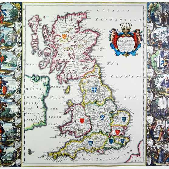The regions of Britain in 1635, before the 1707 Acts of Union that united England and Scotland. (Photo by Universal History Archive/UIG via Getty Images)