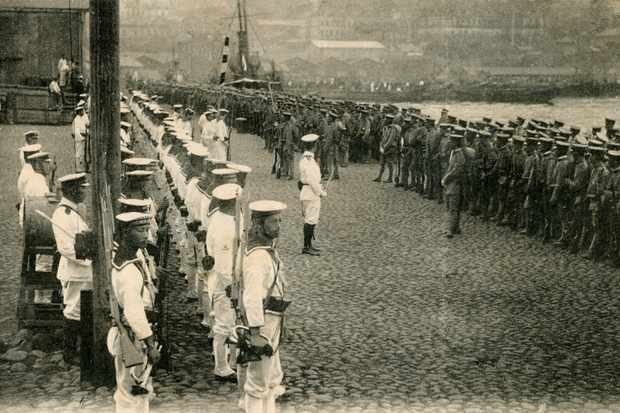 Japanese soldiers and sailors disembark at Vladivostok, 22 August 1918. Of all the foreign interventions into the Russian civil war, the one from Japan was by far the largest, growing to 70,000 troops. (Photo by Culture Club/Getty Images)