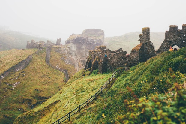 Tintagel Castle, a medieval fortification in Cornwall that is alleged to have been the birthplace of King Arthur. (Photo by Getty Images)