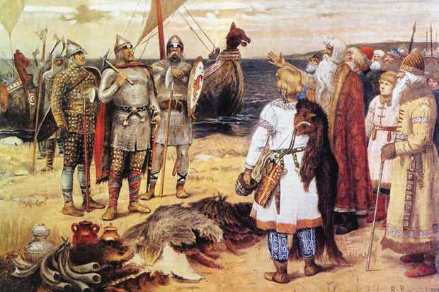 The legendary Varangian (Viking mercenary) Rurik and his brothers arrive in Staraya Ladoga. (Photo by Fine Art Images/Heritage Images/Getty Images)