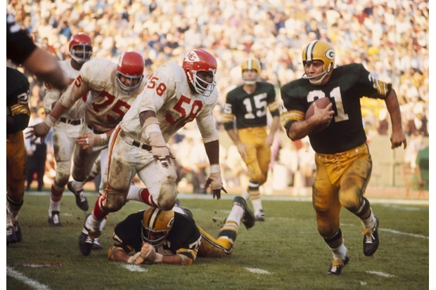 The Green Bay Packers are victorious over the Kansas City Chiefs during the first Super Bowl match in January 1967, at the Los Angeles Memorial Coliseum. (Photo by James Flores/Getty Images)