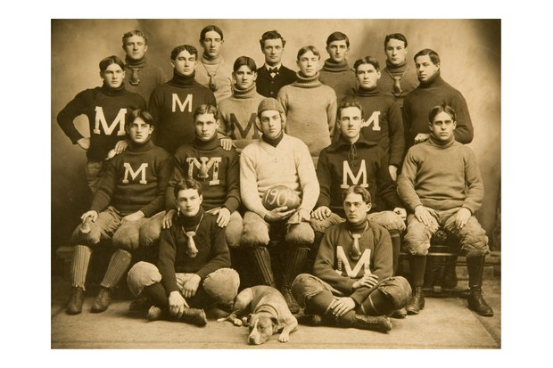 "A team portrait of the ""M"" football team, c1904. In the 1904 season alone, there were 18 football deaths and 159 serious injuries. (Sports Studio Photos/Getty Images)"