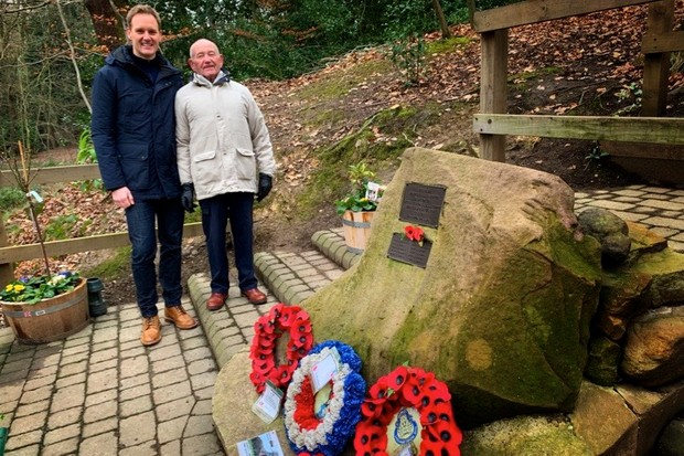 BBC Breakfast's Dan Walker with Tony Foulds, 82, who for nearly 75 years has tended the memorial of 10 US airmen who were killed when their B-17 crashed in Endcliffe Park in Sheffield in February 1944. Tony witnessed the crash as an eight-year-old boy. (Photo courtesy of Dan Walker)