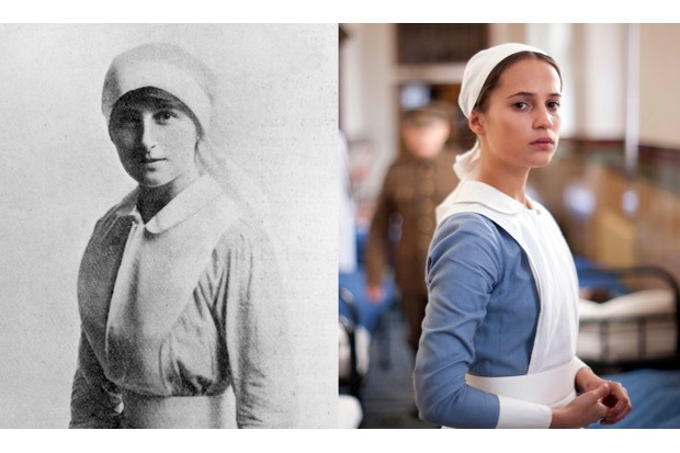 Swedish actor Alicia Vikander plays 20th-century writer and pacifist Vera Brittain in the 2014 film 'Testament of Youth'. (Images by Hulton Archive/Getty Images | Alamy)