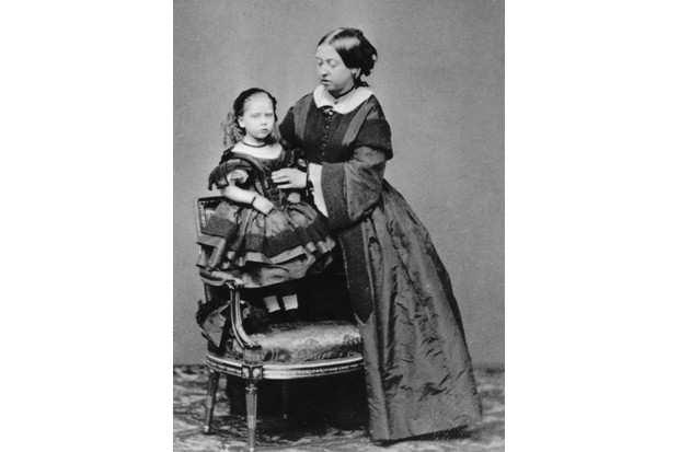 Queen Victoria with her youngest child, Princess Beatrice, c1860. (Photo by Hulton Archive/Getty Images)