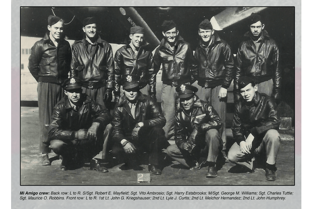 The crew of 'Mi Amigo'. The pilot, 23-year-old Lt John Kriegshauser, can be seen in the front row, far left. (Photo courtesy of Sheffield County Council via American Air Museum in Britain)