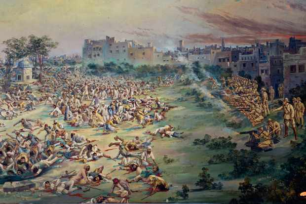"A painting of the Amritsar massacre. While Churchill described the killings as ""without precedent"", MP Benjamin Spoor said: ""Amritsar is not an isolated event, any more than General Dyer is an isolated officer."" (Photo by AKG Images)"