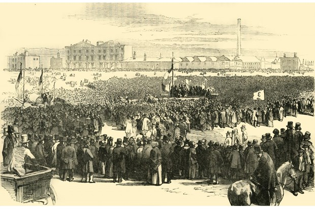 Mass meeting of Chartists on Kennington Common, London, 10 April 1848. In centre is the wagon carrying Feargus O'Connor and the other delegates. (Photo by The Print Collector/Getty Images)