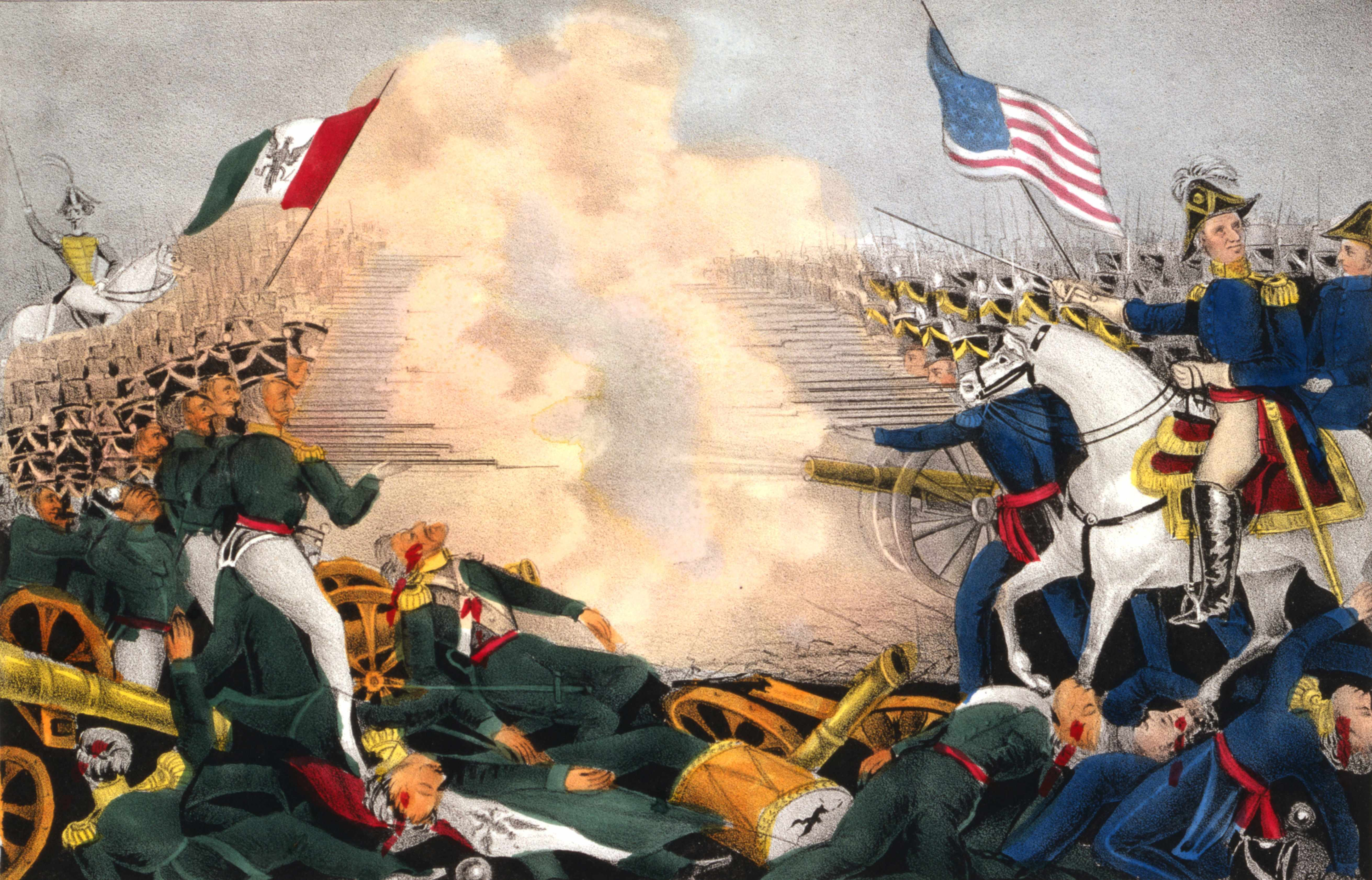"""A painting depicting the Mexican-American War of 1846–48: battle of Buena Vista, also known as battle of Angostura. Since that traumatic war, the US-Mexico bilateral relationship """"has experienced sharp ups-and-downs; but there have also been underlying continuities,"""" says Professor Alan Knight. (Photo by Universal History Archive/Getty Images)"""