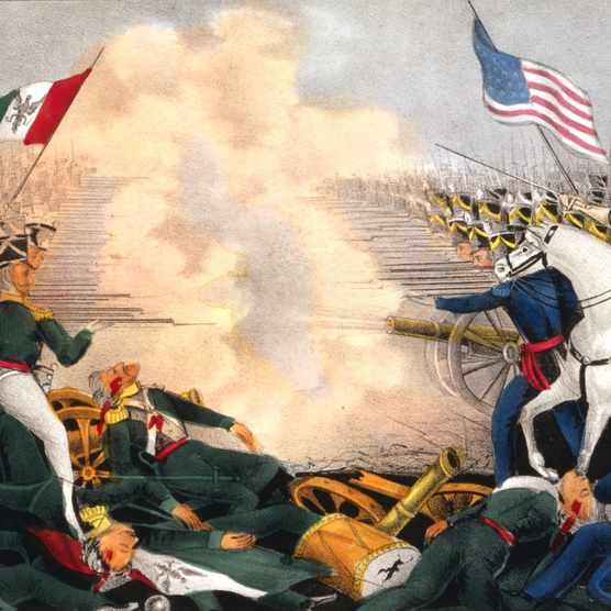 "A painting depicting the Mexican-American War of 1846–48: battle of Buena Vista, also known as battle of Angostura. Since that traumatic war, the US-Mexico bilateral relationship ""has experienced sharp ups-and-downs; but there have also been underlying continuities,"" says Professor Alan Knight. (Photo by Universal History Archive/Getty Images)"