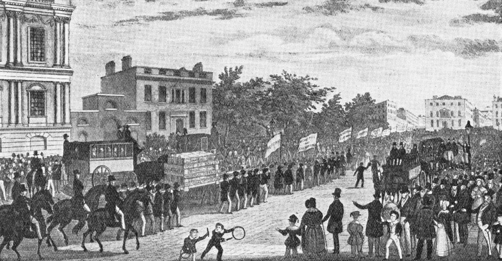 An illustration depicting the procession to the House of Commons to deliver People's Charter to government in 1842. (Photo by Mansell/The LIFE Picture Collection/Getty Images)