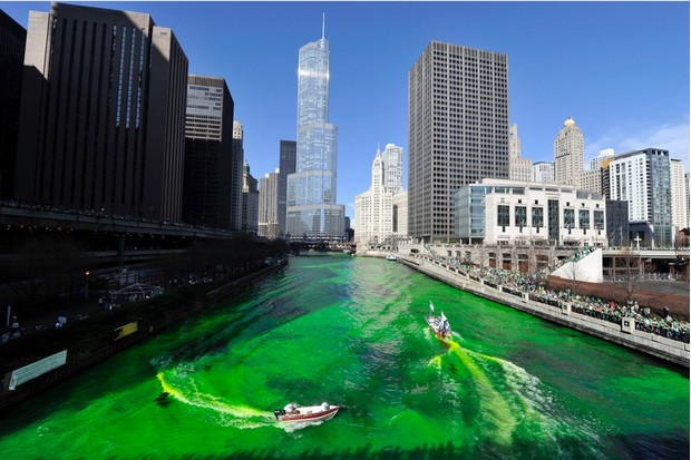 The city of Chicago celebrates St Patrick's Day in 2012, with the tradition of dying its river green. (Photo by Brian Kersey/Getty Images)