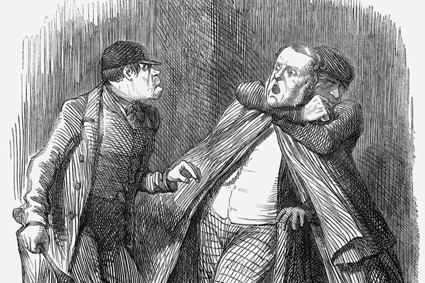 A cartoon from 1862 shows a pair 'garroters' attacking a victim. (Photo by The Cartoon Collector/Print Collector/Getty Images)