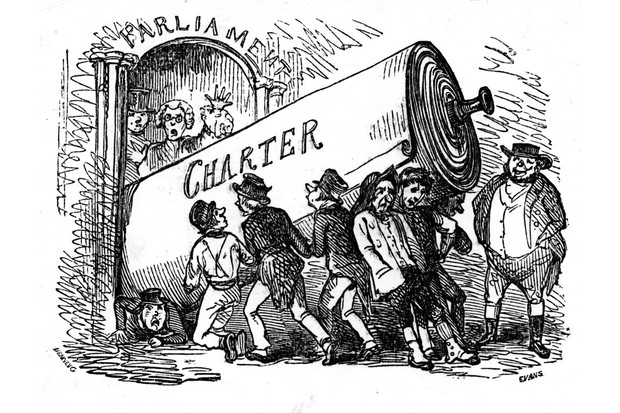 A cartoon showing a huge scroll carried by signatories of the Chartist movement's petition, who are attempting to get it through the door of British parliament. (Photo by Time Life Pictures/Mansell/The LIFE Picture Collection/Getty Images)