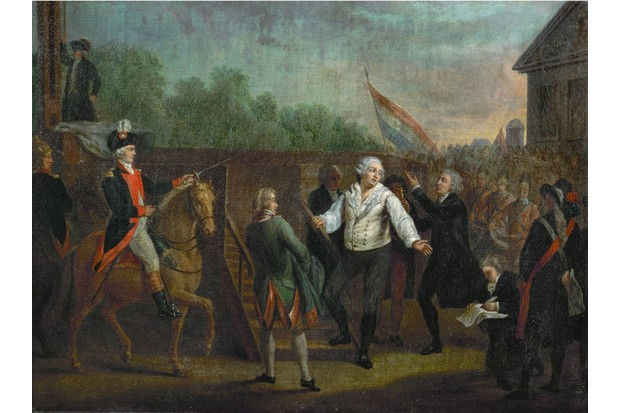 An 18th-century painting of Louis XVI at the foot of the guillotine. (Photo by Imagno/Getty Images)