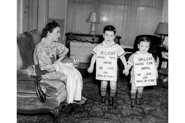 1930s: Children protest the daylight-savings time. (Photo by Walter Kelleher/NY Daily News Archive via Getty Images)