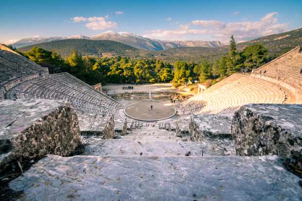 The ancient Greek theatre at Epidaurus, which boasts superb acoustics and aesthetics. (Photo by Alamy)