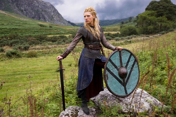 Katheryn WInnick as Lagertha in season 2 of 'Vikings'. A strong belief in Viking women warriors is now rife in many quarters of cyberspace, says Judith Jesch. (Image by Alamy)