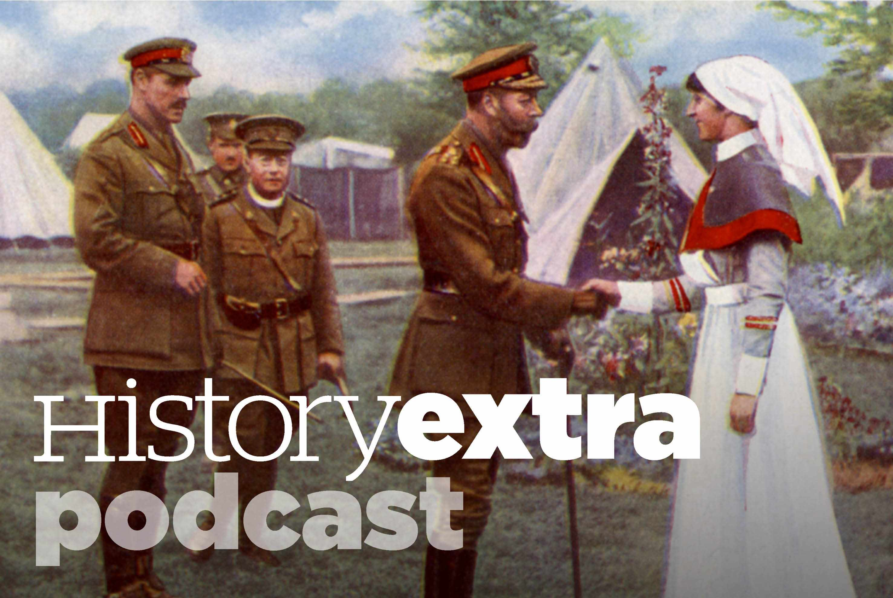 George V meeting a hospital matron on the western front during the First World War. (Photo by Getty Images)